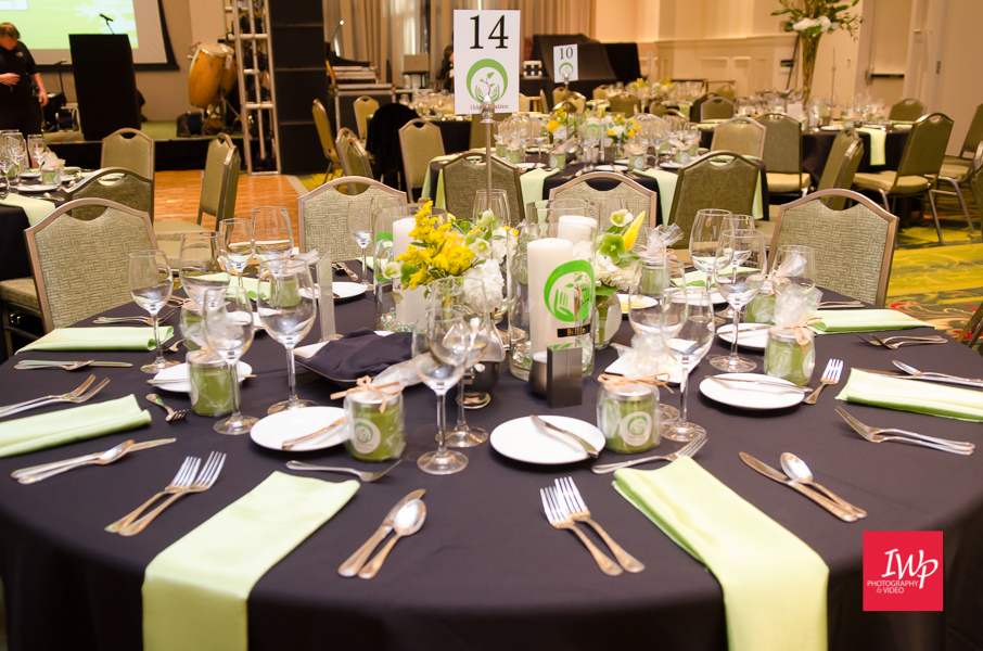 Table setting for the Helene Foundation Gala photographed by IWP Photography & Video